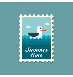 Seagull flat stamp summertime vector