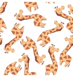 Seamless pattern with giraffes on white background vector