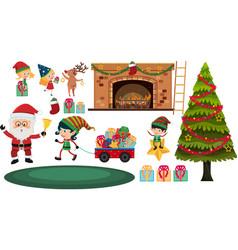 set christmas elements on white background vector image