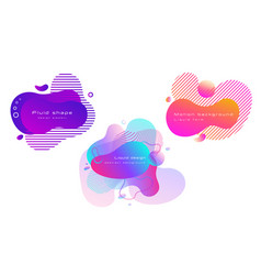 set colorful abstract liquid shapes fluid vector image
