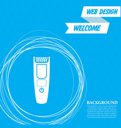 Shaver hairclipper icon on a blue background with vector