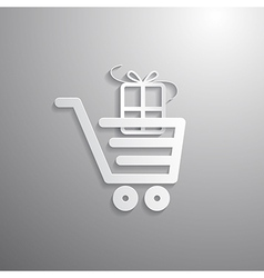 Shopping Cart Basket Symbol with Gift Box vector image