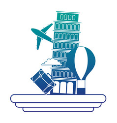 Silhouette leaning tower of pisa with air balloon vector