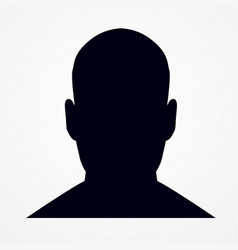 silhouette of a man s head front shot vector image