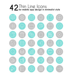 smartphone apps linear icons set mobile vector image