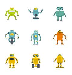 Technology robot icons set flat style vector