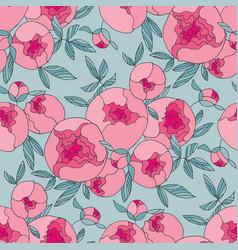 tender line peony flower seamless pattern vector image