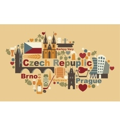 The Map Of Czech Republic vector image vector image