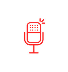 thin line red microphone for podcast vector image