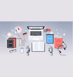 Translate bot at workplace modern robot vector