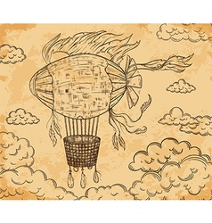 vintage airship with ribbon and clouds vector image