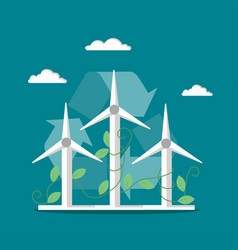 windmills wind turbines flat style vector image