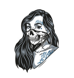 woman in scary skull mask vector image
