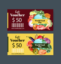 World food day voucher design with fish bell vector