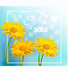 Yellow gerbera daisies on a blue bokeh background vector