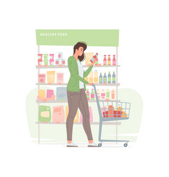 Young woman buying healthy food in supermarket vector