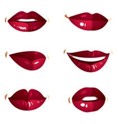 collection of red female lips with makeup vector image