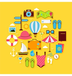 Flat Travel Summer Icon Circle Shaped Set vector image