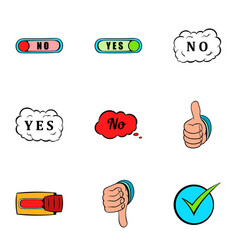 no gesture icons set cartoon style vector image vector image