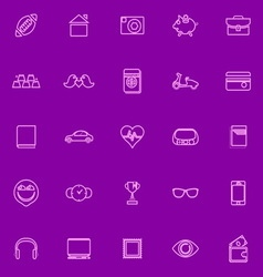 Personal data line icons pink color vector