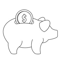 piggy bank icon outline style vector image vector image
