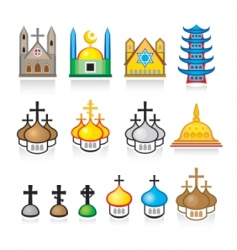 religious temples and worship places vector image vector image
