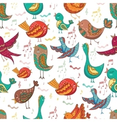 Bird Singing Summer Seamless Endless vector image vector image