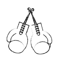 blurred silhouette image set boxing gloves sport vector image