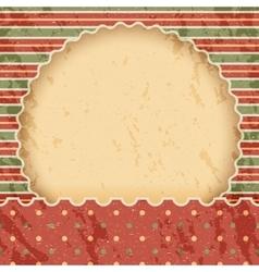 Christmas vintage paper background or frame Red vector image vector image