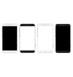 set of white and black smartphones vector image