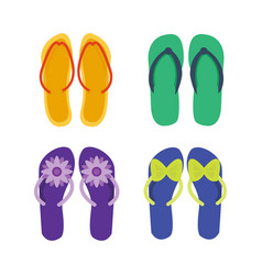 slippers female multicolored isolated on white vector image vector image