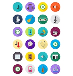 Color round music icons set vector image