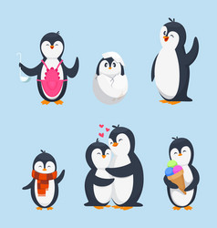 funny pinguins in different action poses cartoon vector image