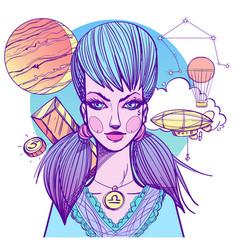 girl symbolizes the zodiac sign libra pastel goth vector image vector image