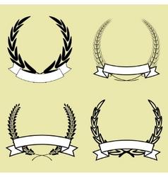laurel wreath with ribbon vector image