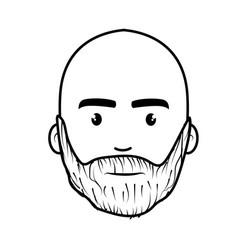 Line nice face man with beard and bald vector