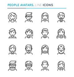 people avatars thin line icon set editable stroke vector image