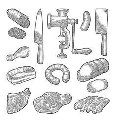 Set meat products and kitchen equipment vintage vector