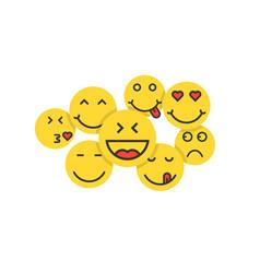 set of yellow emoji like crowd of people vector image vector image