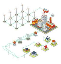 Windmil turbine power 3D isometric clean energy vector image
