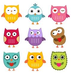 Cute owls set vector image vector image