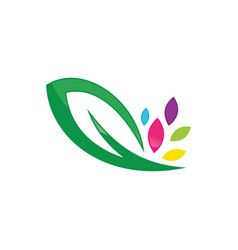 green leaves and ecology logo vector image
