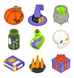 isometric 3d halloween witch magic icons set vector image vector image