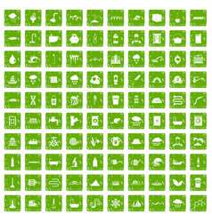 100 water supply icons set grunge green vector