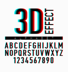 3d effect alphabet and numbers vector