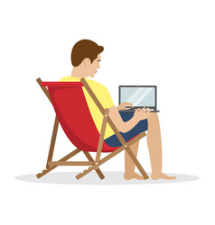 A man in a sunbed working at a laptop remote work vector