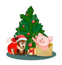 a puppy a bag gifts and pig jumping out of an vector image