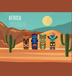 africa landscape and african masks vector image