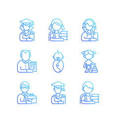 Age and gender differences gradient linear icons vector