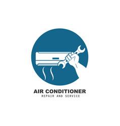Airconditioner repair and service icon design vector